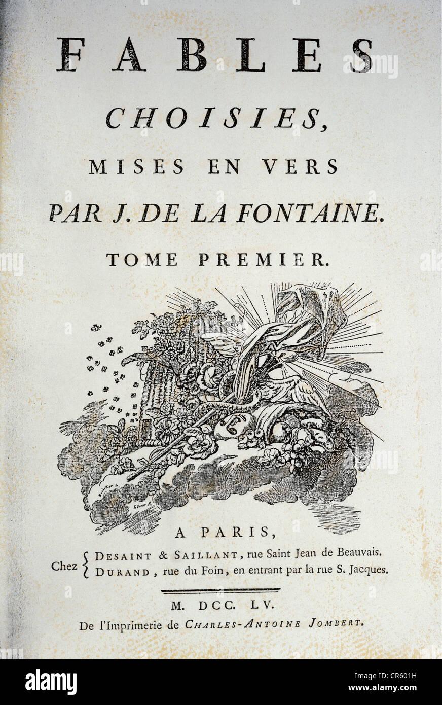 """La Fontaine, Jean de, 8.7.1621 - 13.4.1695, französischer Autor/Verfasser, oevre, den gewählten Fabeln"""", Stockbild"""
