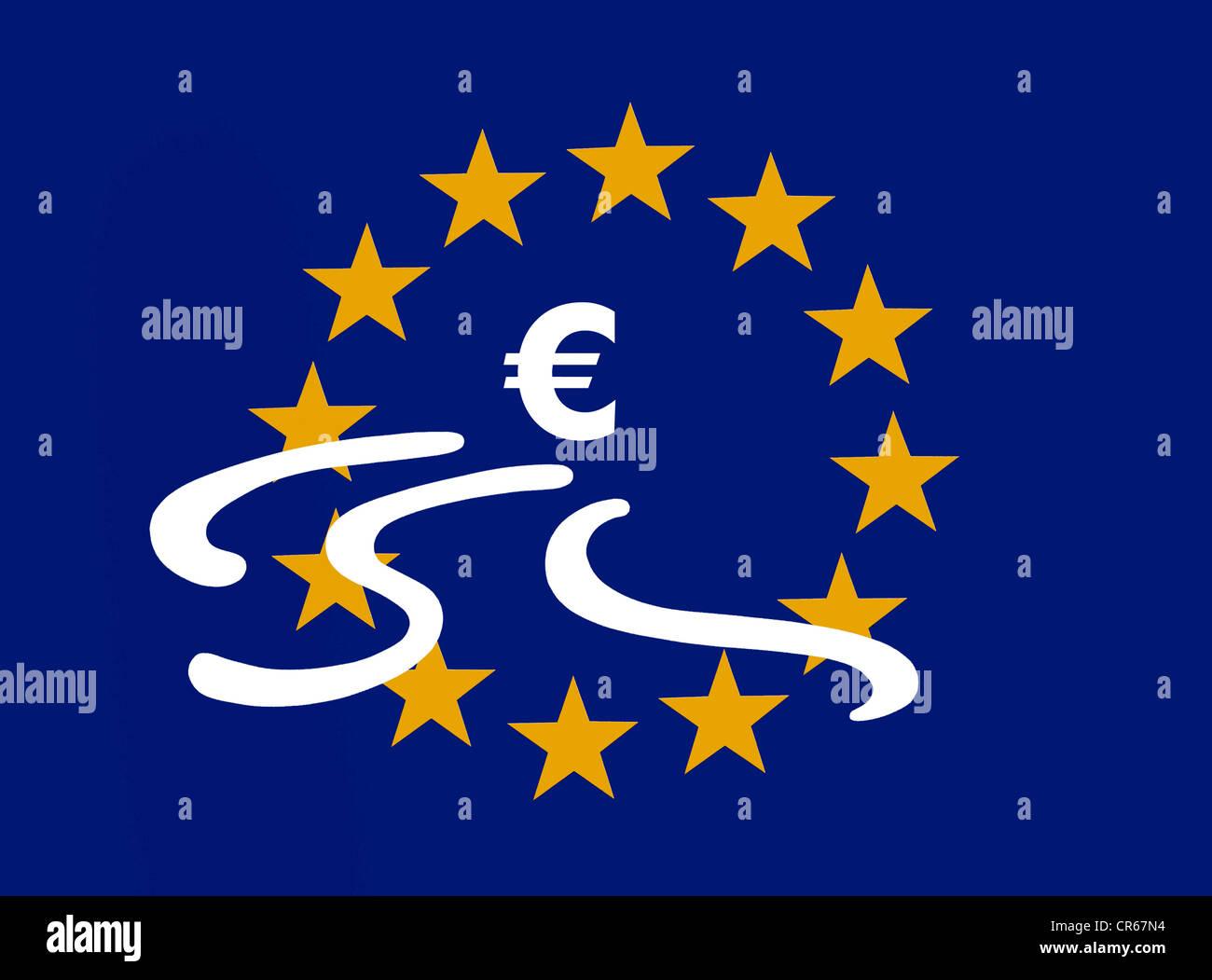Euro-Symbol mit Bremsspuren in den 12 Sternen der Europäischen Union, symbolisches Bild der Krise innerhalb Stockbild