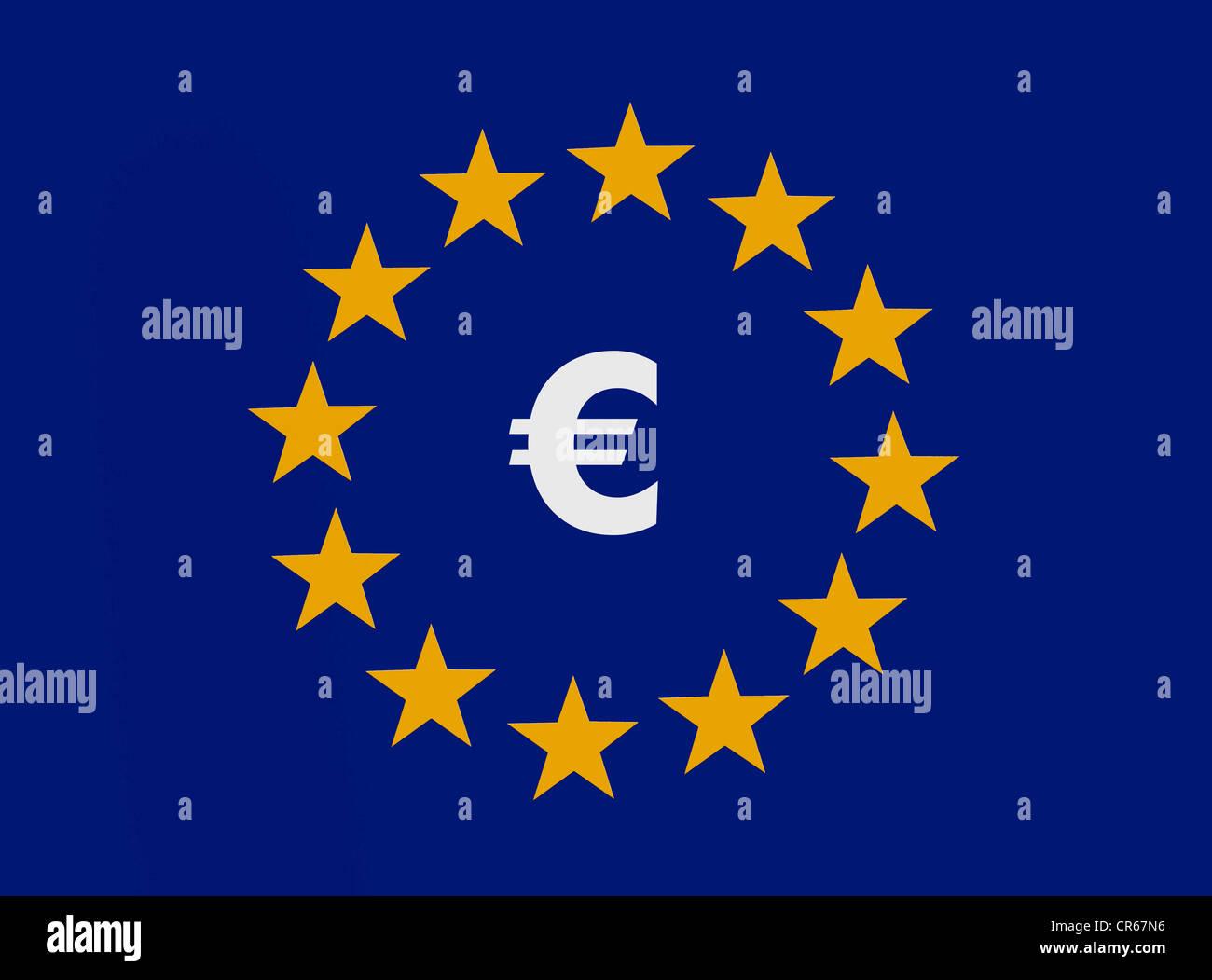 Euro-Symbol in die 12 Sterne der Europäischen Union, europäische Gemeinschaftswährung, Währungsunion Stockbild