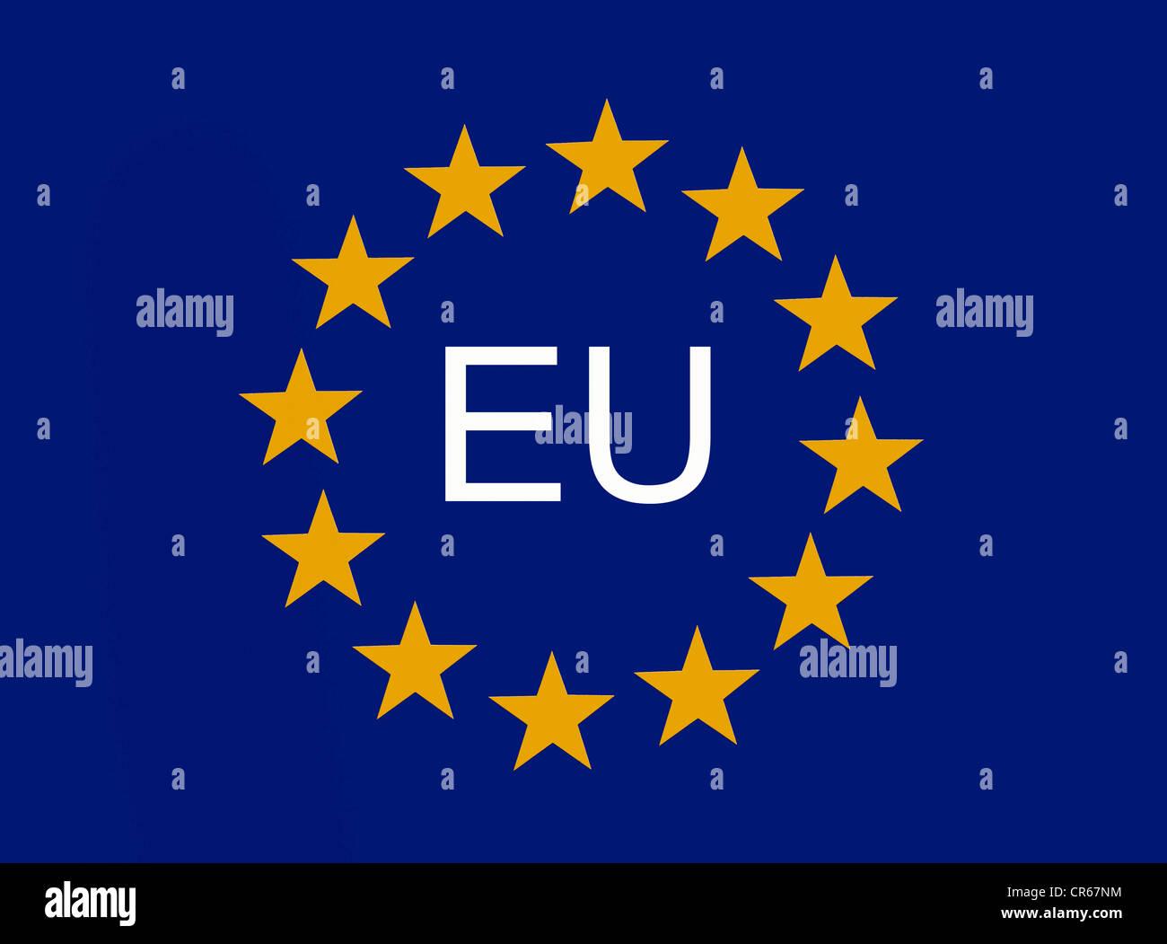 Europäische Symbol, 12 EU-Sternen der Europäischen Union Stockbild