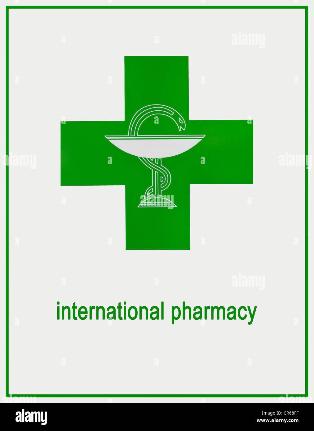Internationale Apotheke Zeichen, grüne Logo mit Aesculapian Schlange Stockbild