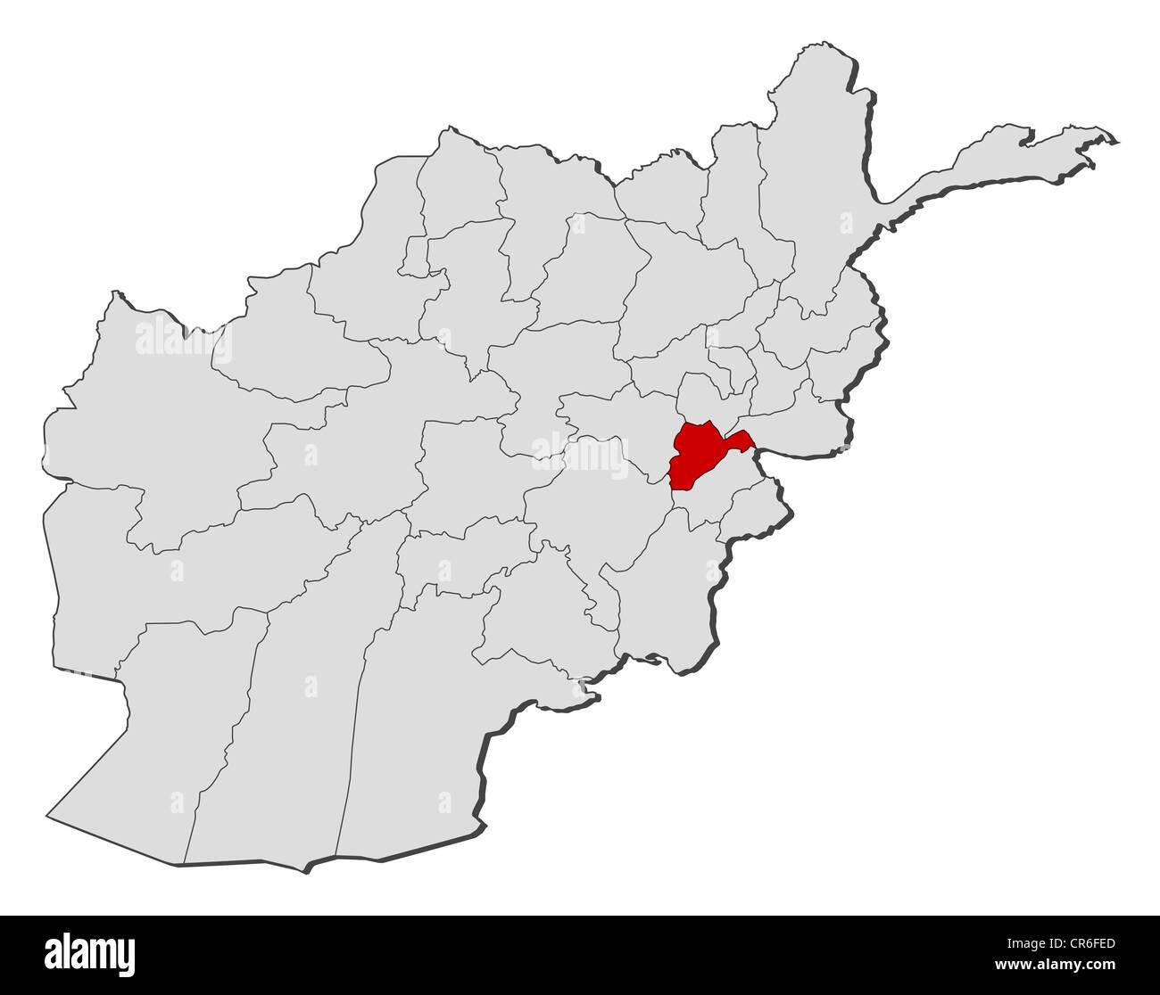 Karte Afghanistan Provinzen.Politische Karte Von Afghanistan Mit Den Verschiedenen