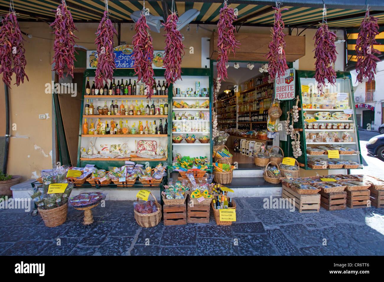 Lebensmittelgeschäft, historischen Stadtteil Ponte, Castello Aragonese Castle, Golf von Neapel, Kampanien, Stockbild