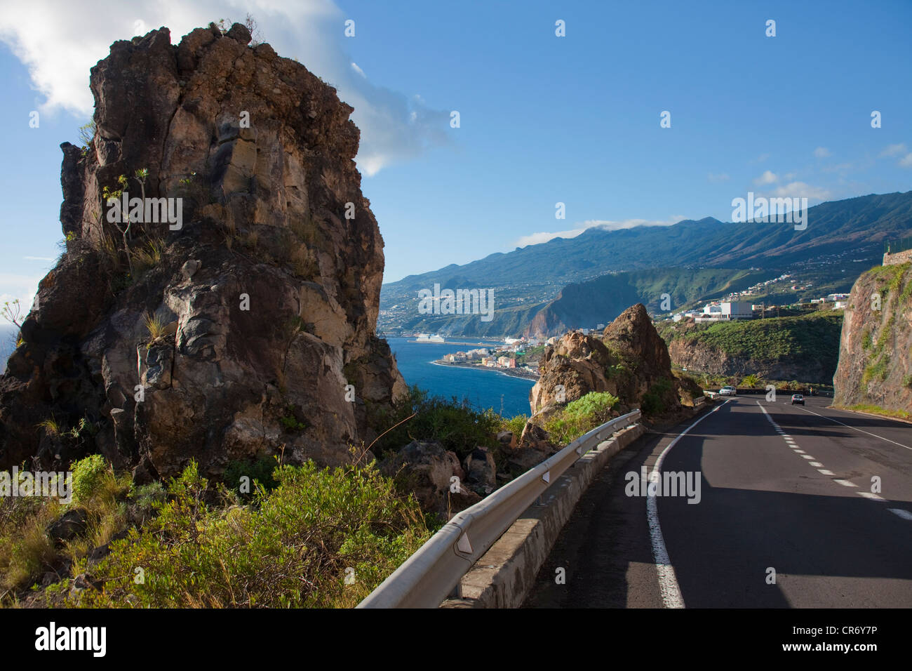Küstenstraße in Santa Cruz, La Palma, Kanarische Inseln, Spanien, Europa, Atlantik Stockbild