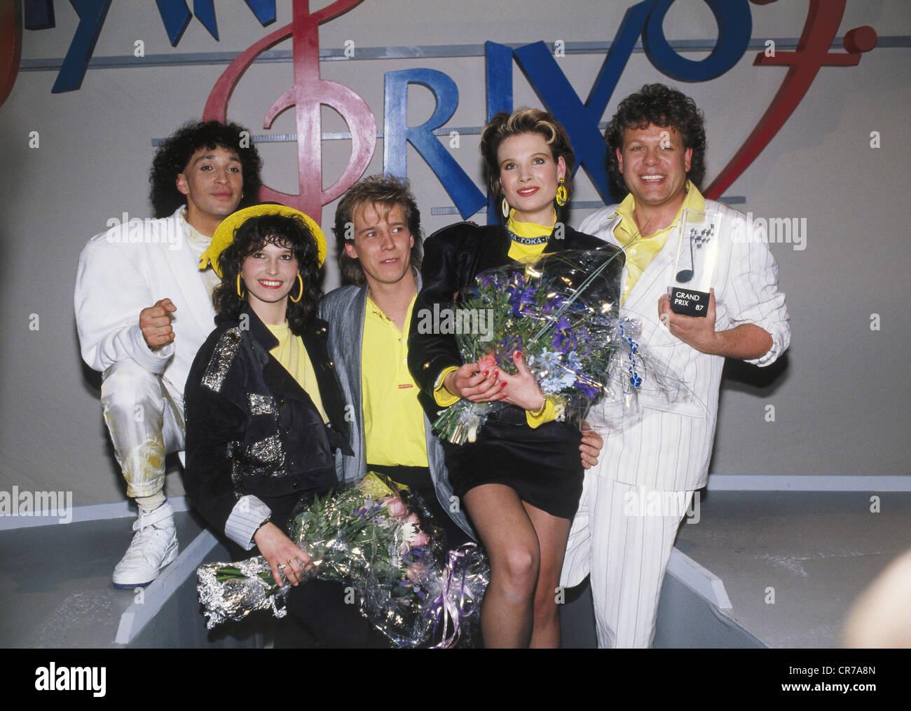 Wind, Deutschen Schlager band, 1985 gegründet, Gruppenbild, als Gewinner des Deutschen Vorentwurf für Stockbild