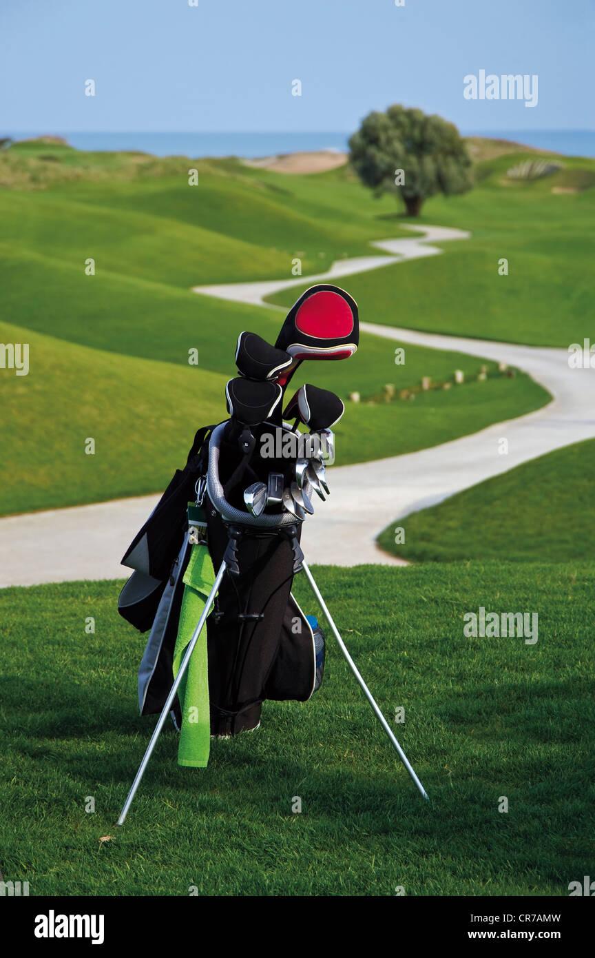 Türkei, Antalya, Golfclub in Golf-bag Stockbild