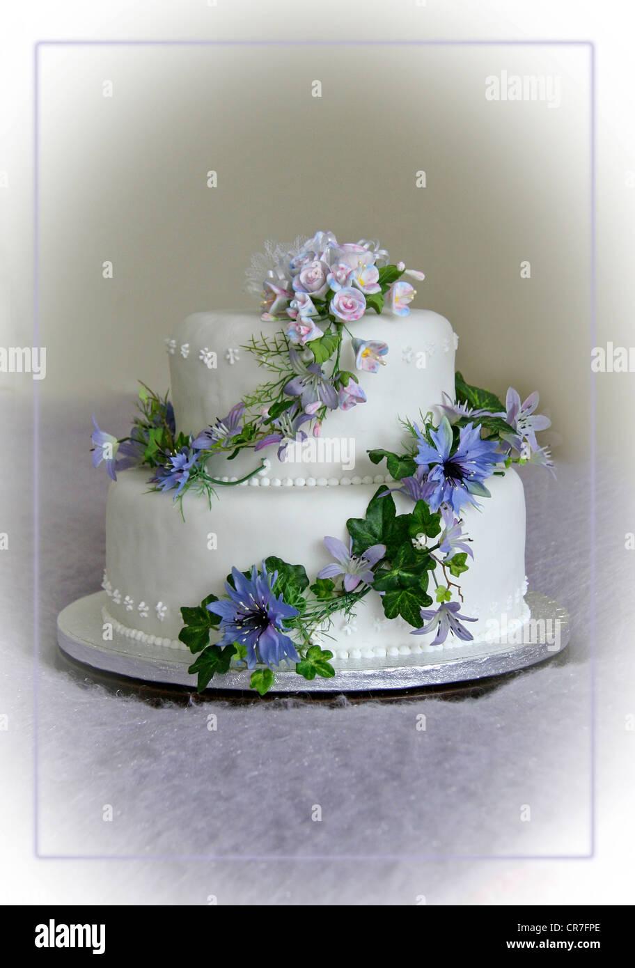 Hochzeitstorte Mit Lila Und Blauen Blumen Stockfoto Bild 48723878