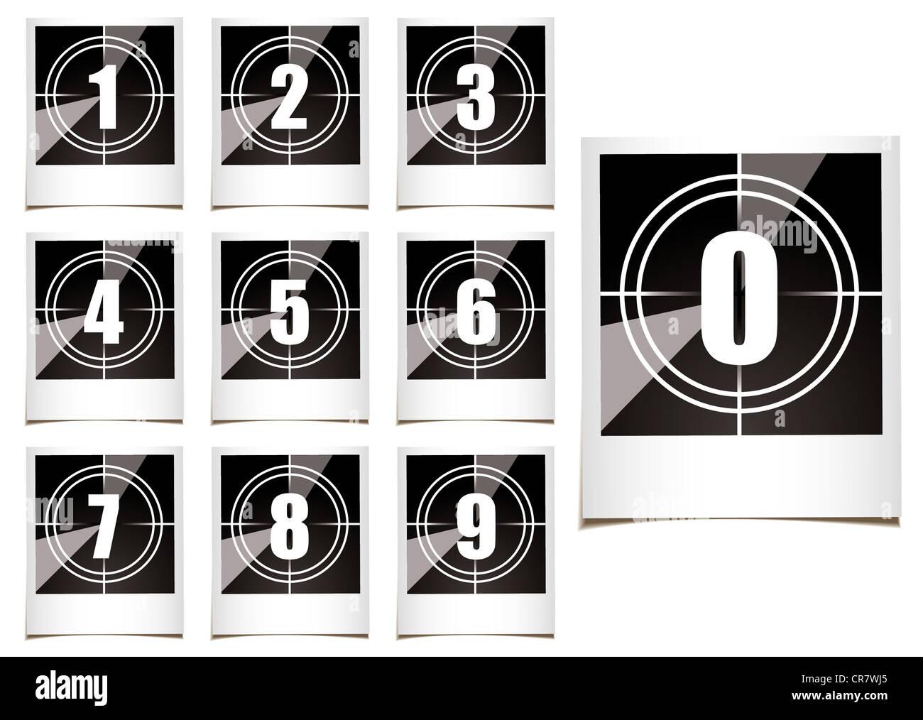 Sammlung von instant Fotografien mit Filmtyp Countdown Zahlen Stockbild