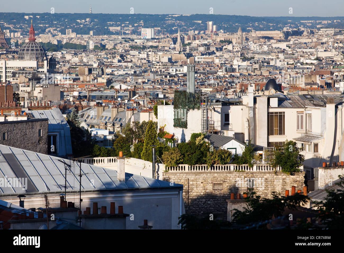 Frankreich, Paris, Blick auf die Stadt von den Höhen des Montmartre, auf einem Dach-Terrasse-grün Stockbild