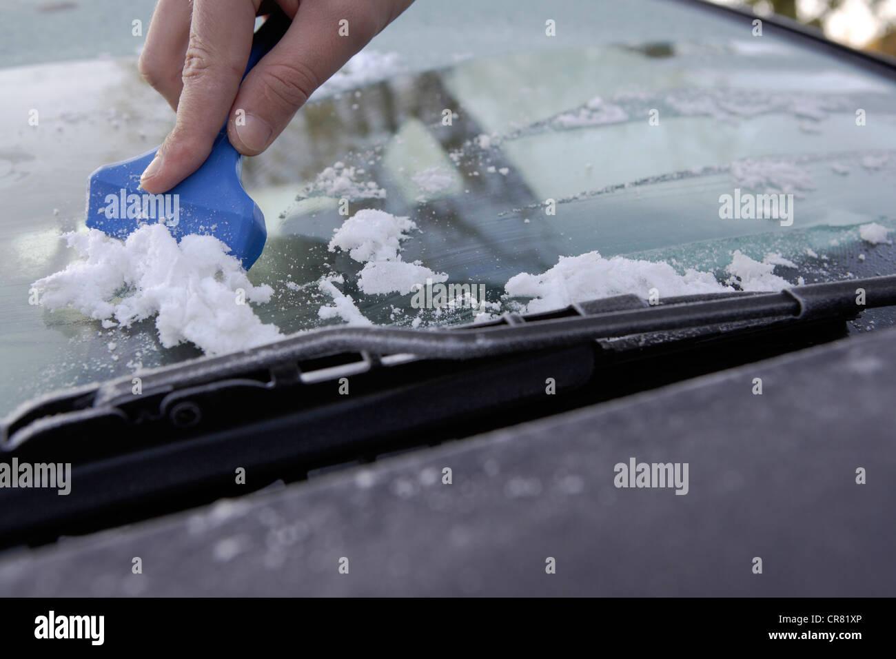 Gefrorene Windschutzscheibe Eines Autos Kratzer Frei Von Eis Mit