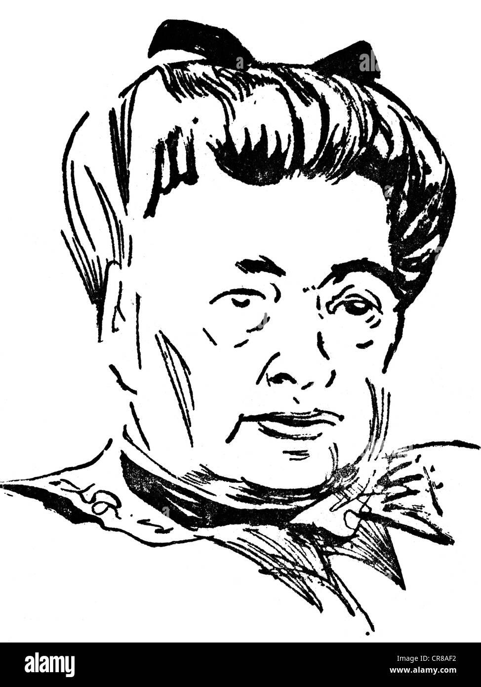 Suttner, Bertha-von-, 9.6.1843 - 21.6.1914, österreichische Pazifistin und Schriftstellerin, Portrait, Zeichnung Stockbild