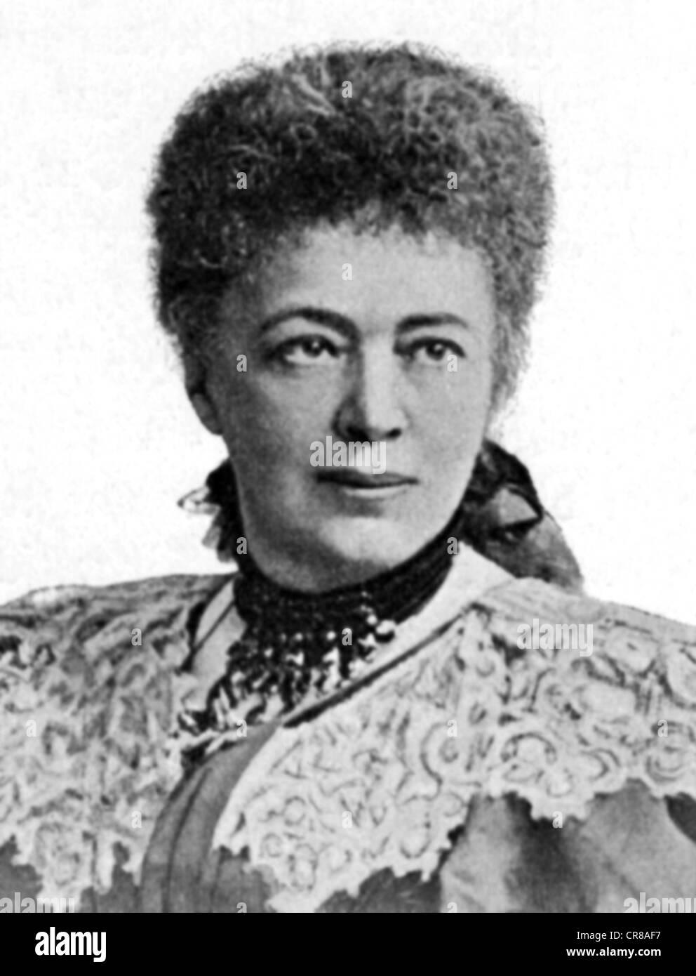 Suttner, Bertha-von-, 9.6.1843 - 21.6.1914, österreichische Pazifistin und Schriftstellerin, Porträt, Stockbild