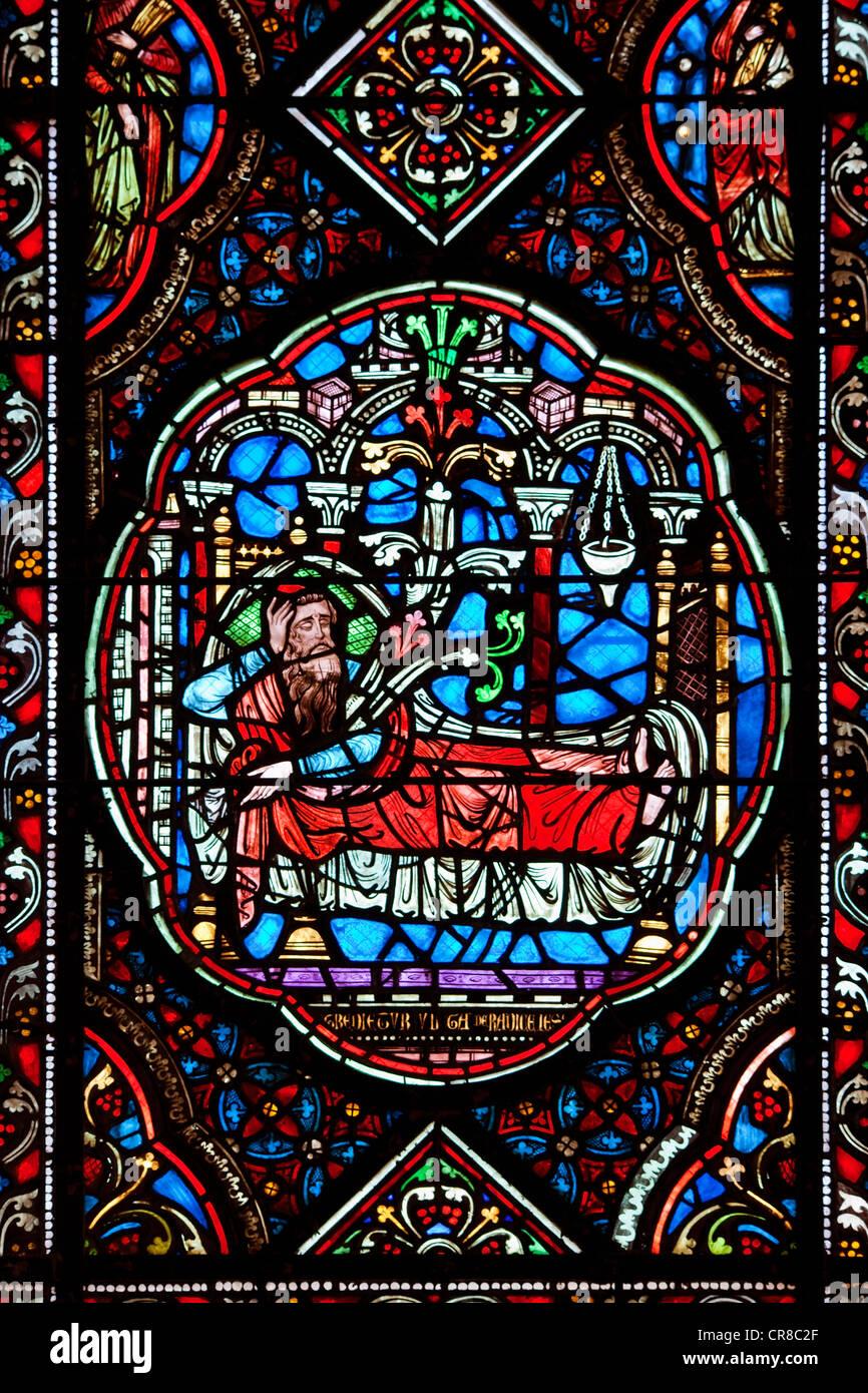 Frankreich, Manche, Coutances, die Kathedrale, befleckte Glasfenster in der Circata-Kapelle Stockbild