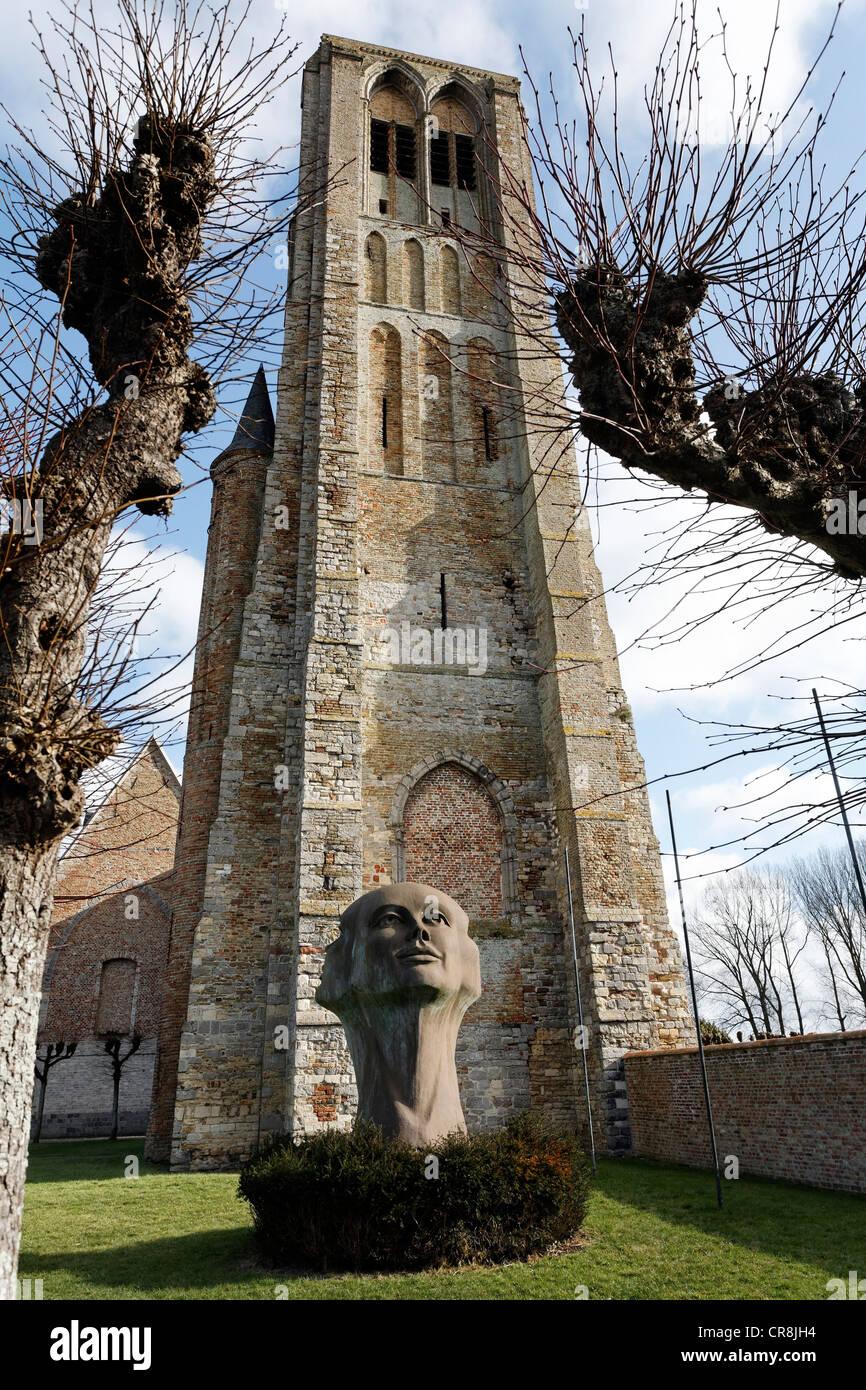 Skulptur, Blik van Licht sehen von Licht, Gemälde von Charles Delporte vor Onze-Lieve-Vrouwkerk, Frauenkirche, Stockbild