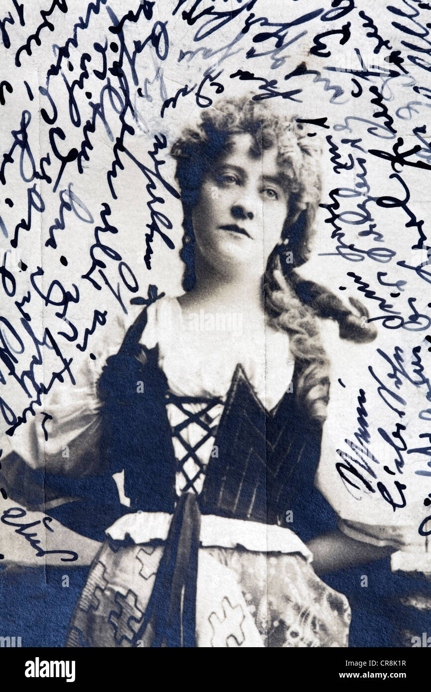Figur Frau Mit Traurigen Gesicht Historische Postkarte Schreiben In