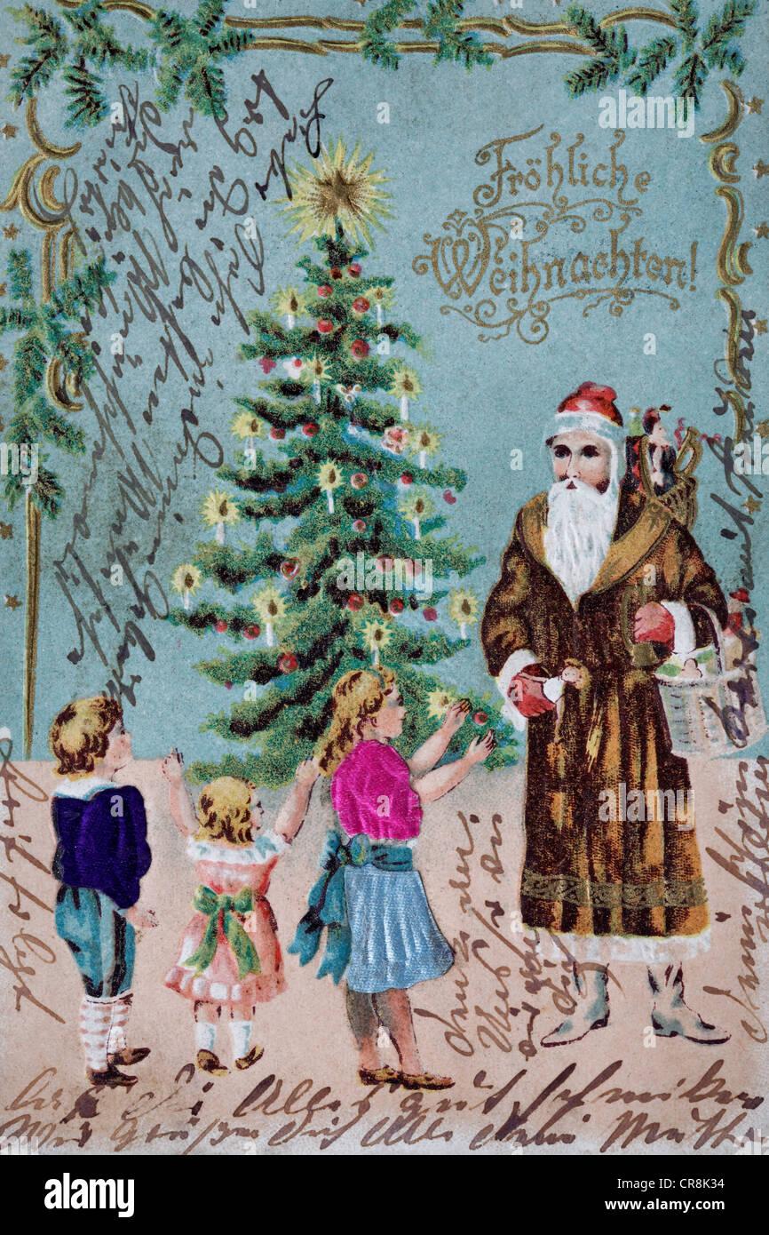 postcard christmas children stockfotos postcard. Black Bedroom Furniture Sets. Home Design Ideas