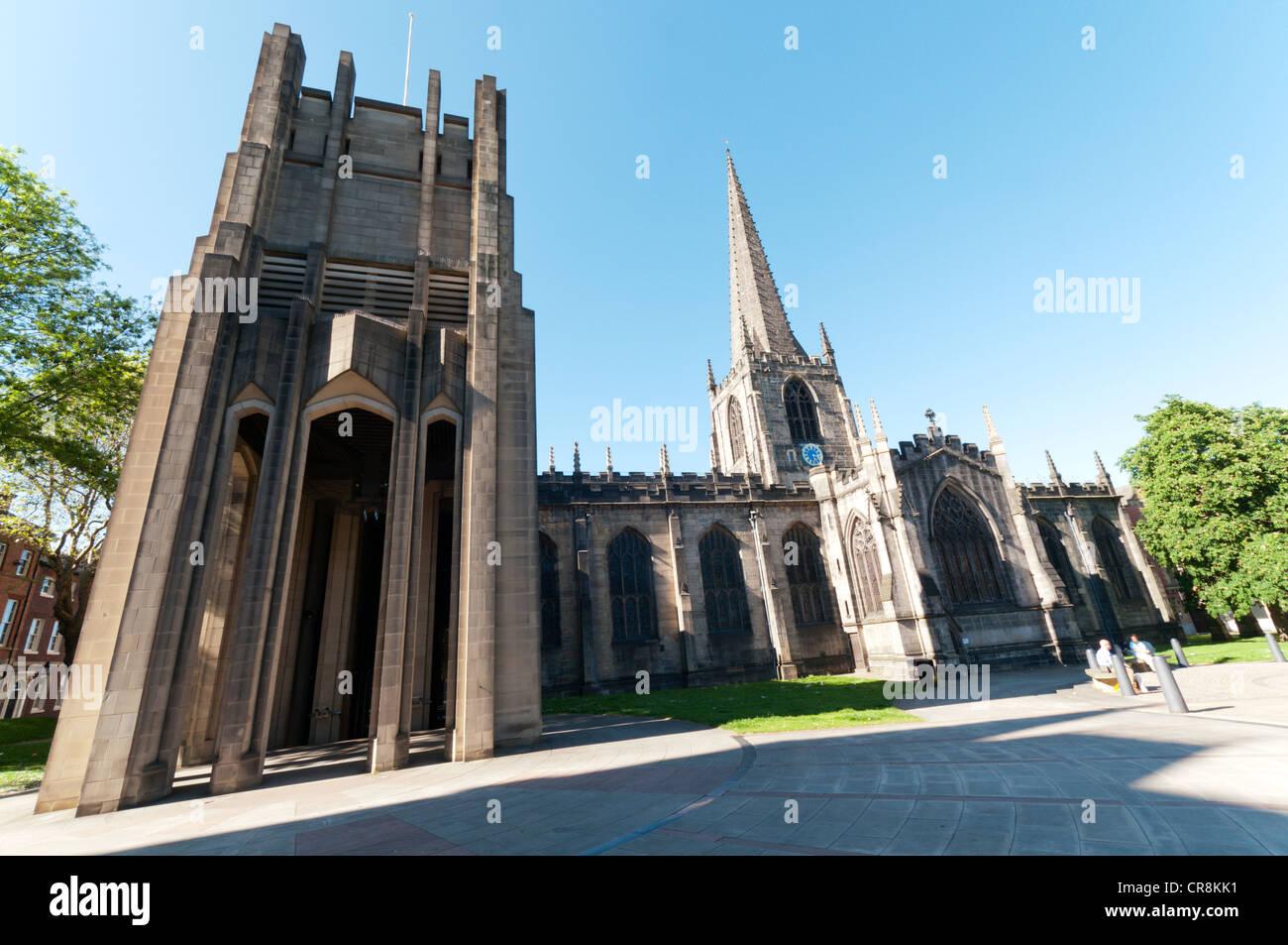 Die Kathedrale St. Peter und St. Paul in Sheffield Stockbild