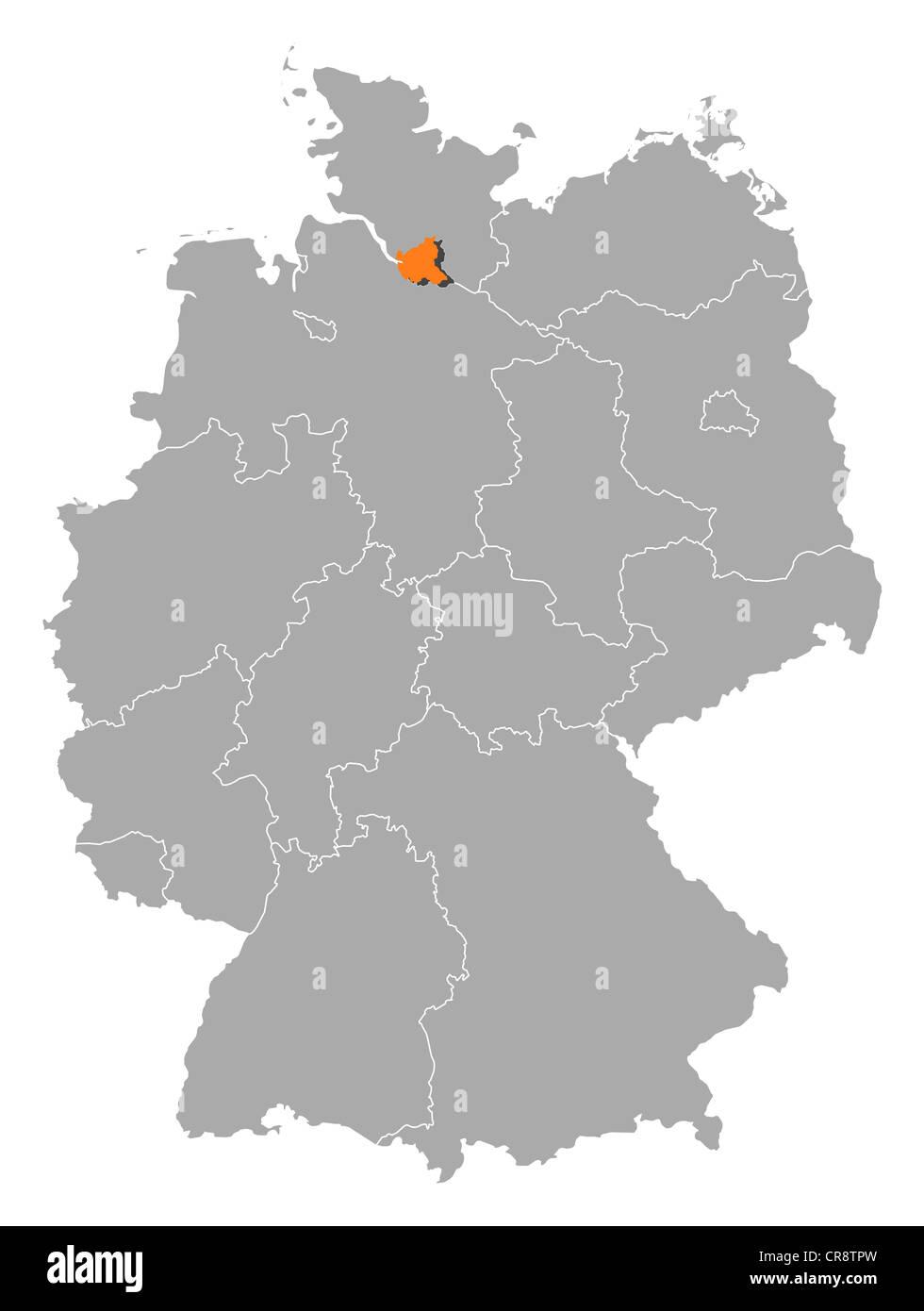 Political Map Germany Several Hamburg Stockfotos & Political Map ...