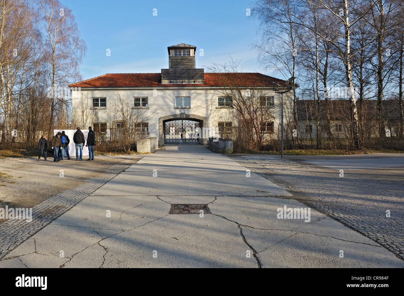 Jourhaus, dem Eingang Buillding des KZ Dachau, Dachau, in der Nähe von München, Bayern, Deutschland, Europa Stockbild