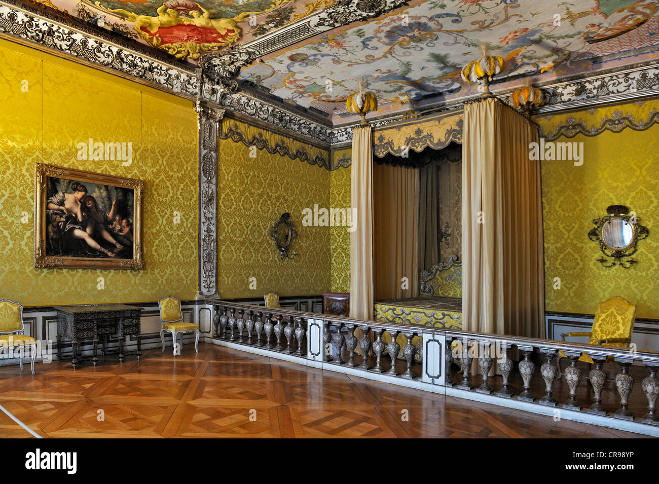 Schlafzimmer im ersten Stock, Neues Schloss Schleißheim Palast ...