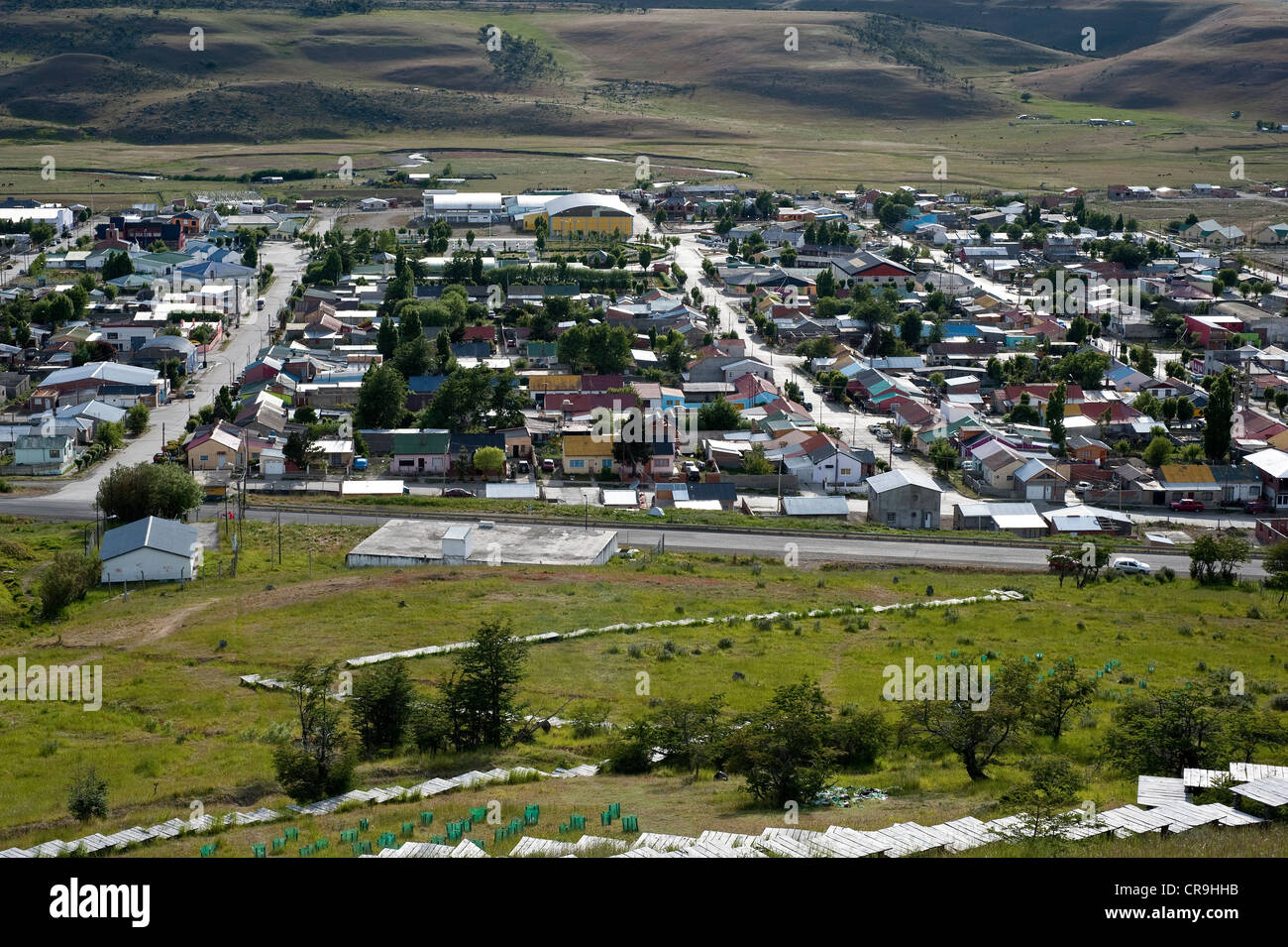 28 de Noviembre Bergbau Siedlung Blick vom Cerro De La Cruz Reserva urbane Santa Cruz Provinz Patagonien Argentinien Stockbild