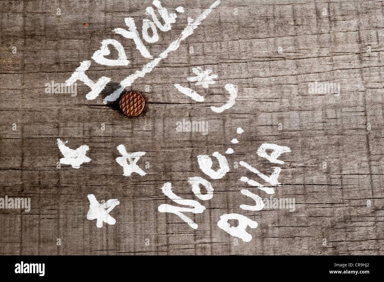 'Ich liebe dich' Graffiti auf dem Gehweg Reserva urbane Cerro De La Cruz über 28 de Noviembre Santa Stockbild
