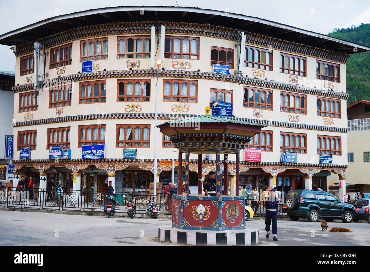 Polizei handbetrieben Kreisverkehr, Thimphu (Hauptstadt), Bhutan, Asien Stockbild