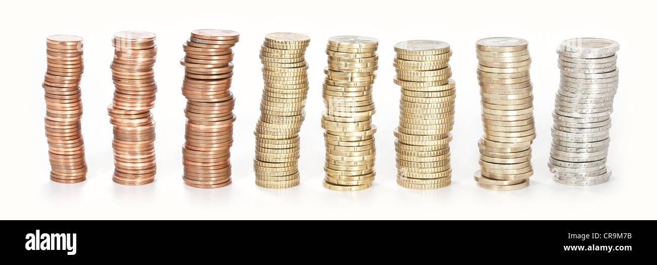 Gestapelte Euro Münzen Alle Von 1 Cent Bis 2 Euro Isoliert Auf