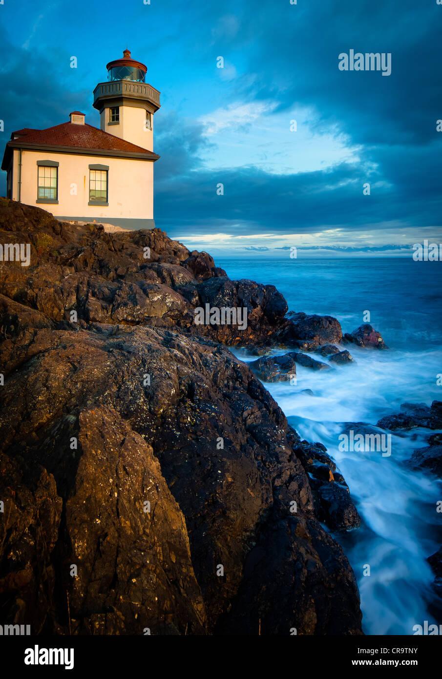 Kalk-Brennofen-Leuchtturm auf San Juan Island, Washington Stockbild
