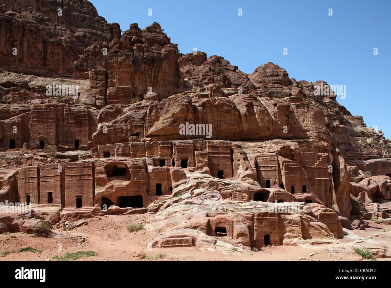 Rock-Gräber, Petra, die Hauptstadt der Nabatäer, Felsenstadt, UNESCO-Weltkulturerbe Hertage, Wadi Musa Stockbild
