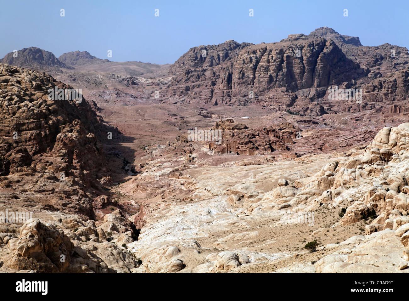 Tal von Petra, die Hauptstadt der Nabatäer, Rock City, Hertage der UNESCO, Wadi Musa Stockbild