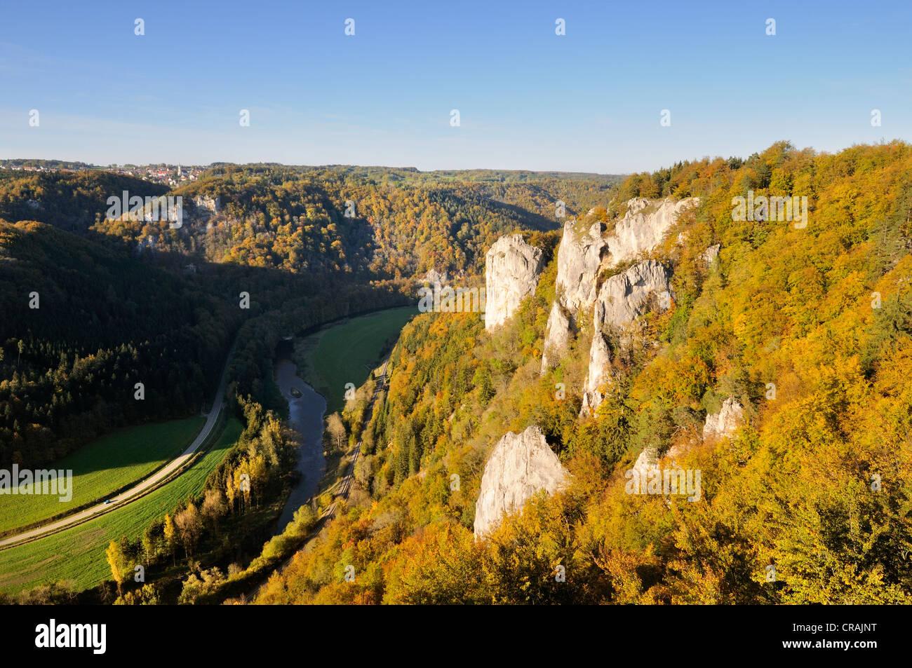 Blick auf ein Herbst gefärbten Buchenwald mit markanten Kalkfelsen im oberen Donautal, Sigmaringen Bezirk Stockbild