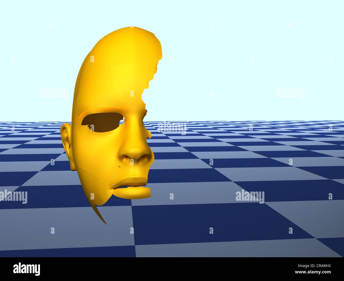 Kopf, abstrakten, symbolischen Bild für die Alzheimer Krankheit Stockfoto