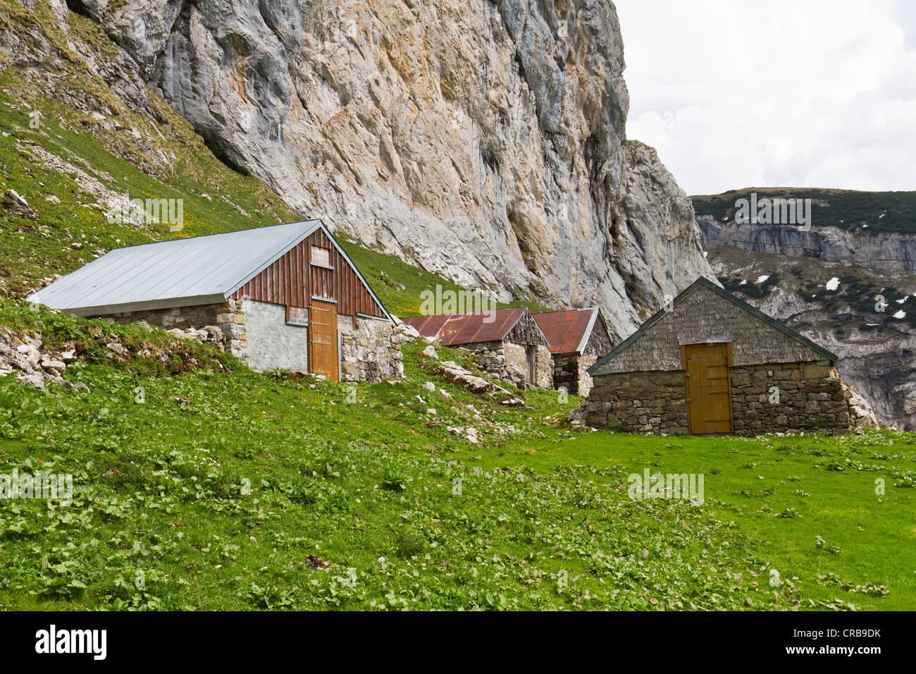 Die Hütten der Alp Tesel, Alpsteingebirge Berge, Kanton St. Gallen, Schweiz, Europa Stockbild