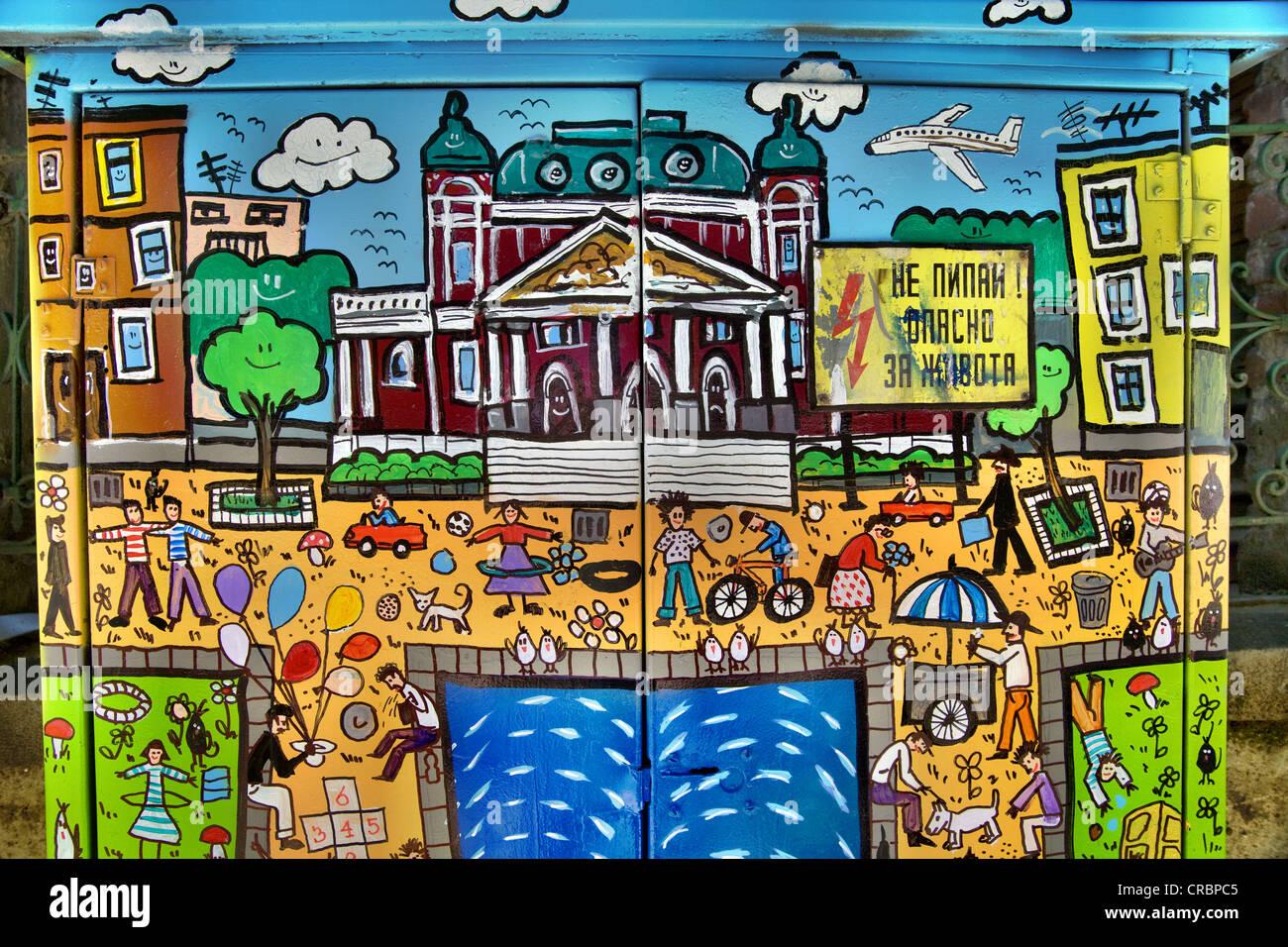 Sofia-Szenen-Graffiti auf Strom box in Sofia, Bulgarien Stockfoto