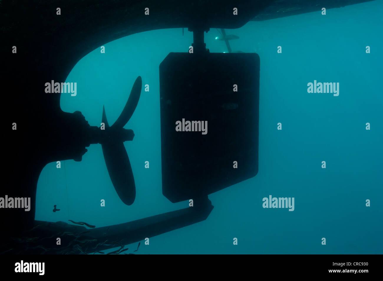Unterwasser Foto von Boot propeller Stockbild