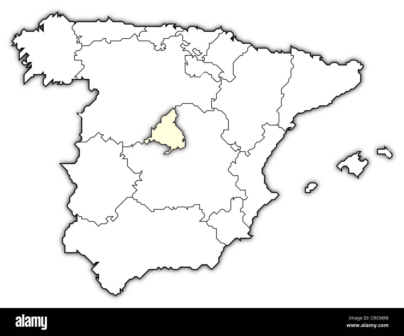 Spanien Regionen Karte.Politische Karte Von Spanien Mit Mehreren Regionen Wo Madrid