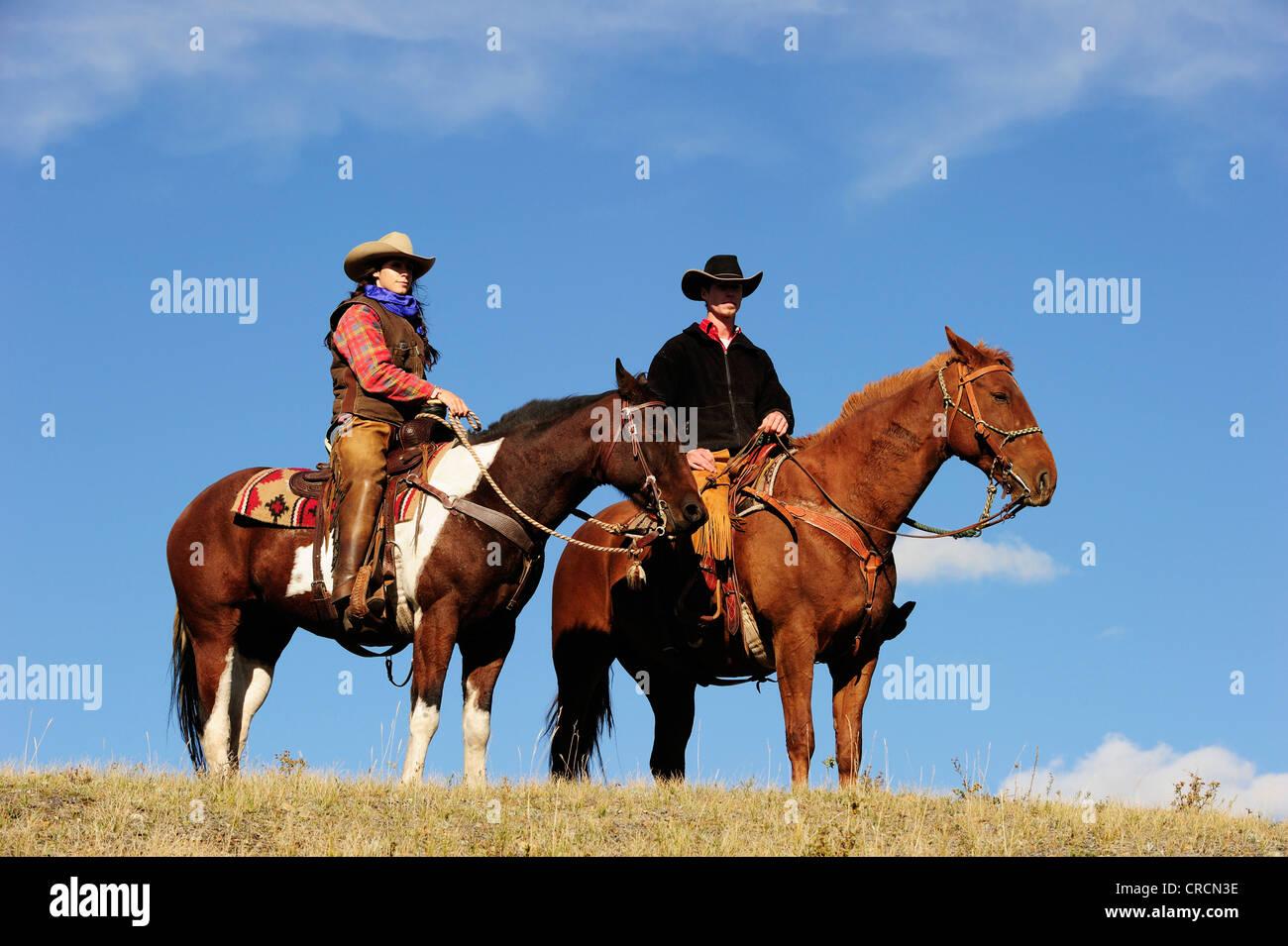 Cowgirls und Cowboys auf Pferden Blick in die Ferne, Saskatchewan, Kanada, Nordamerika Stockfoto