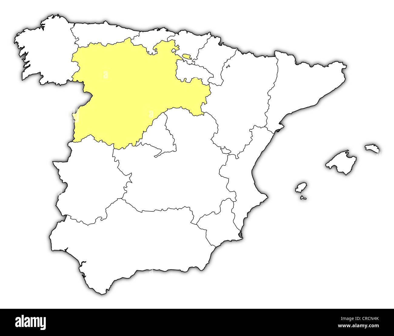 Spanien Regionen Karte.Politische Karte Von Spanien Mit Mehreren Regionen Wo Kastilien Und