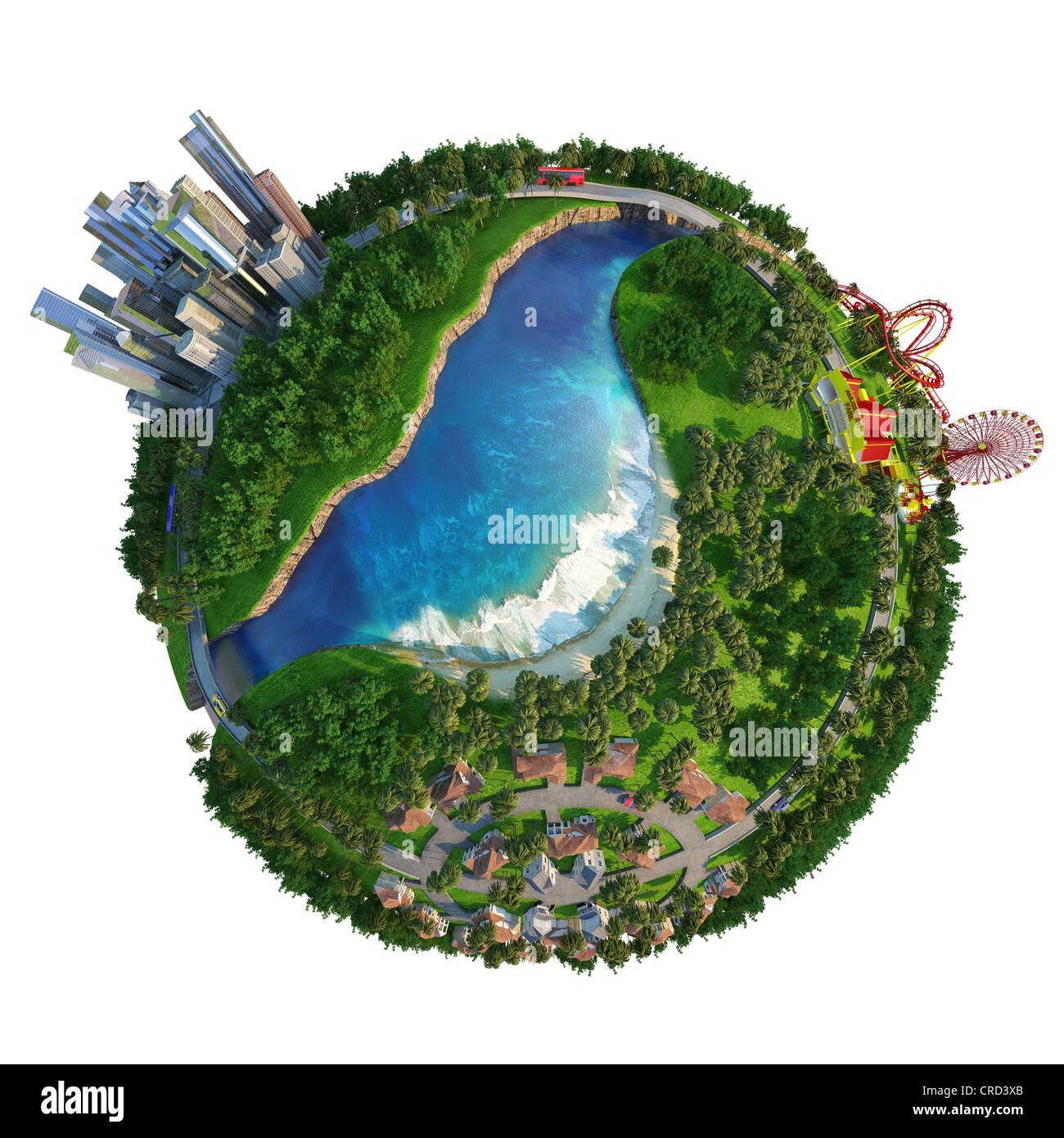 Konzept-Globe für Arbeit, Haus und Freizeit Stockbild