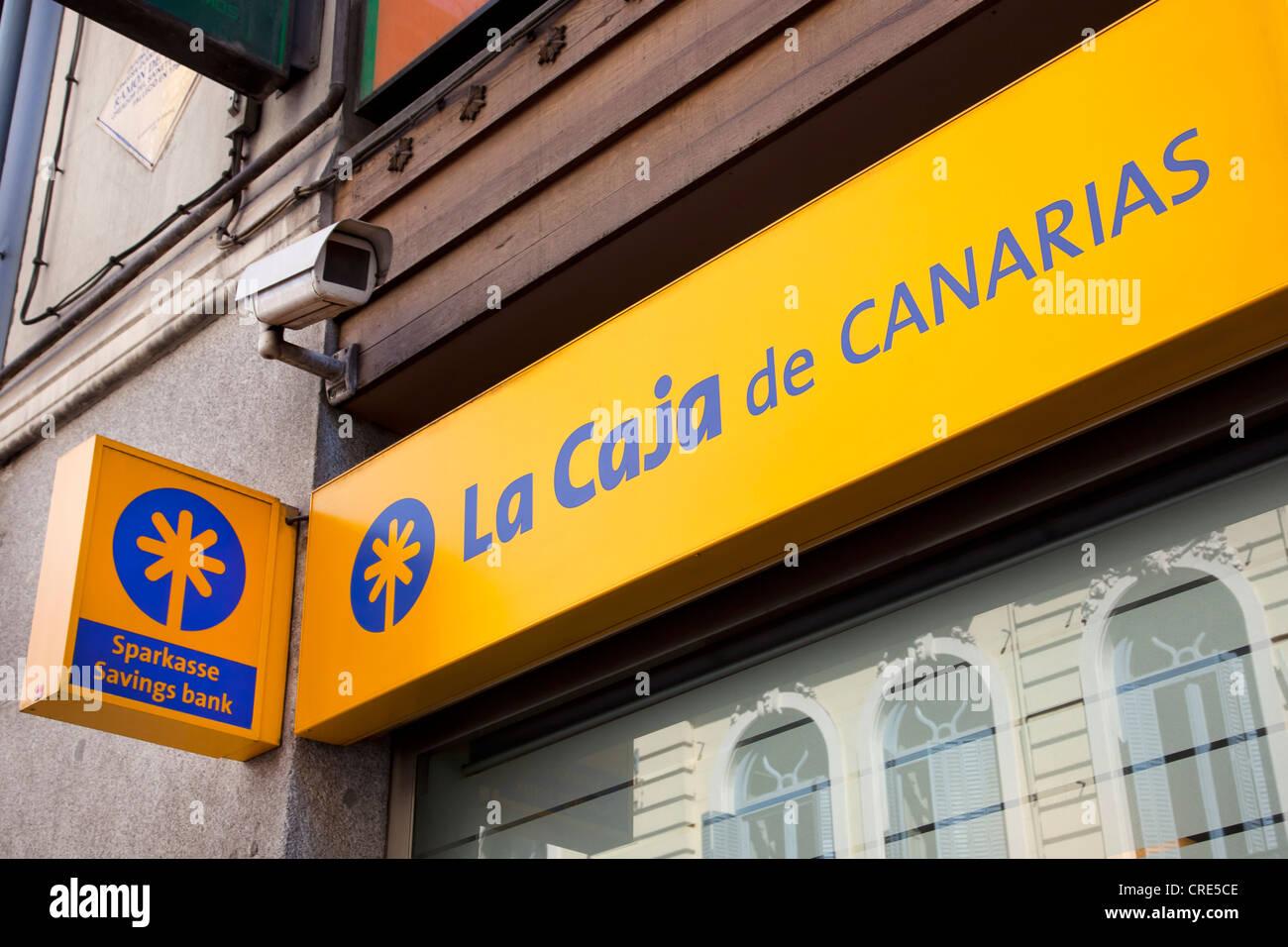 Logo und Schriftzug der spanischen bank La Caja de Canarias, Madrid, Spanien, Europa Stockbild