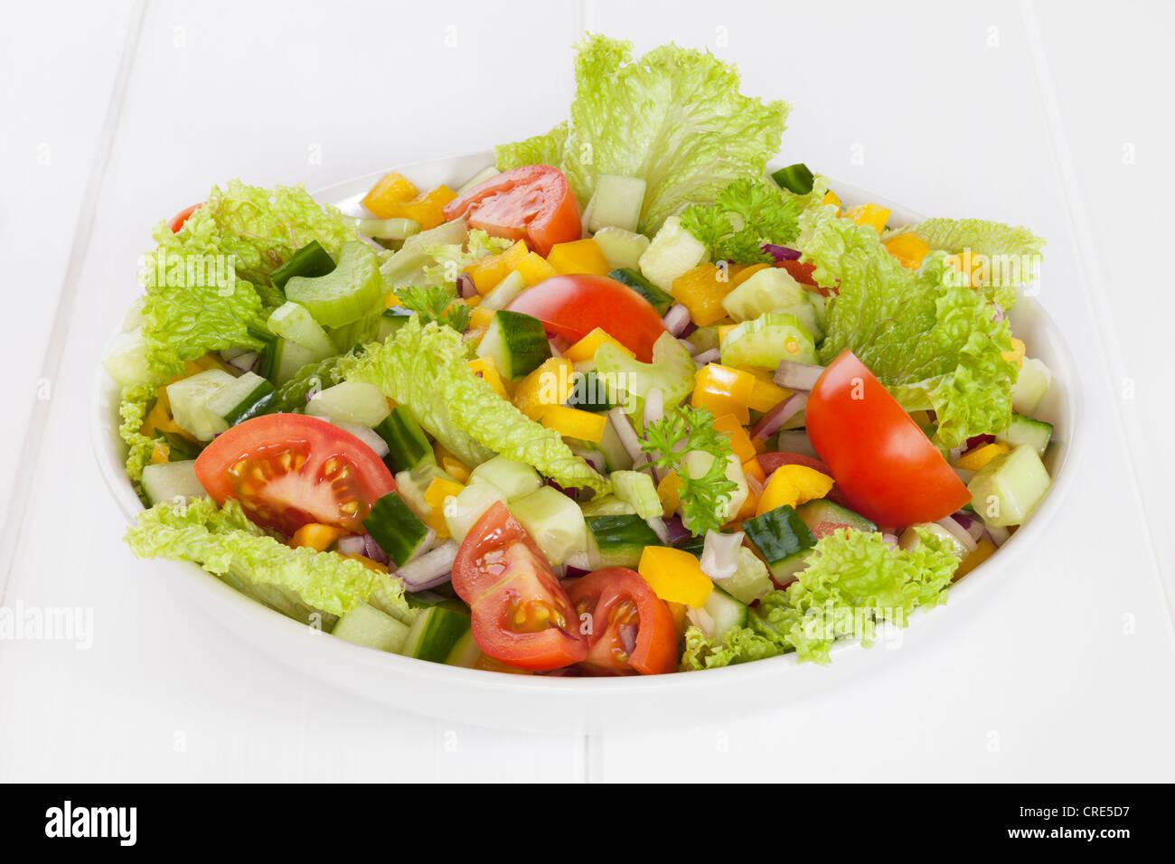 Eine Schale mit frischen gemischten Salat, Salat, Gurke, Tomate, rote Zwiebel, gelbe Paprika, Sellerie, Petersilie. Stockfoto