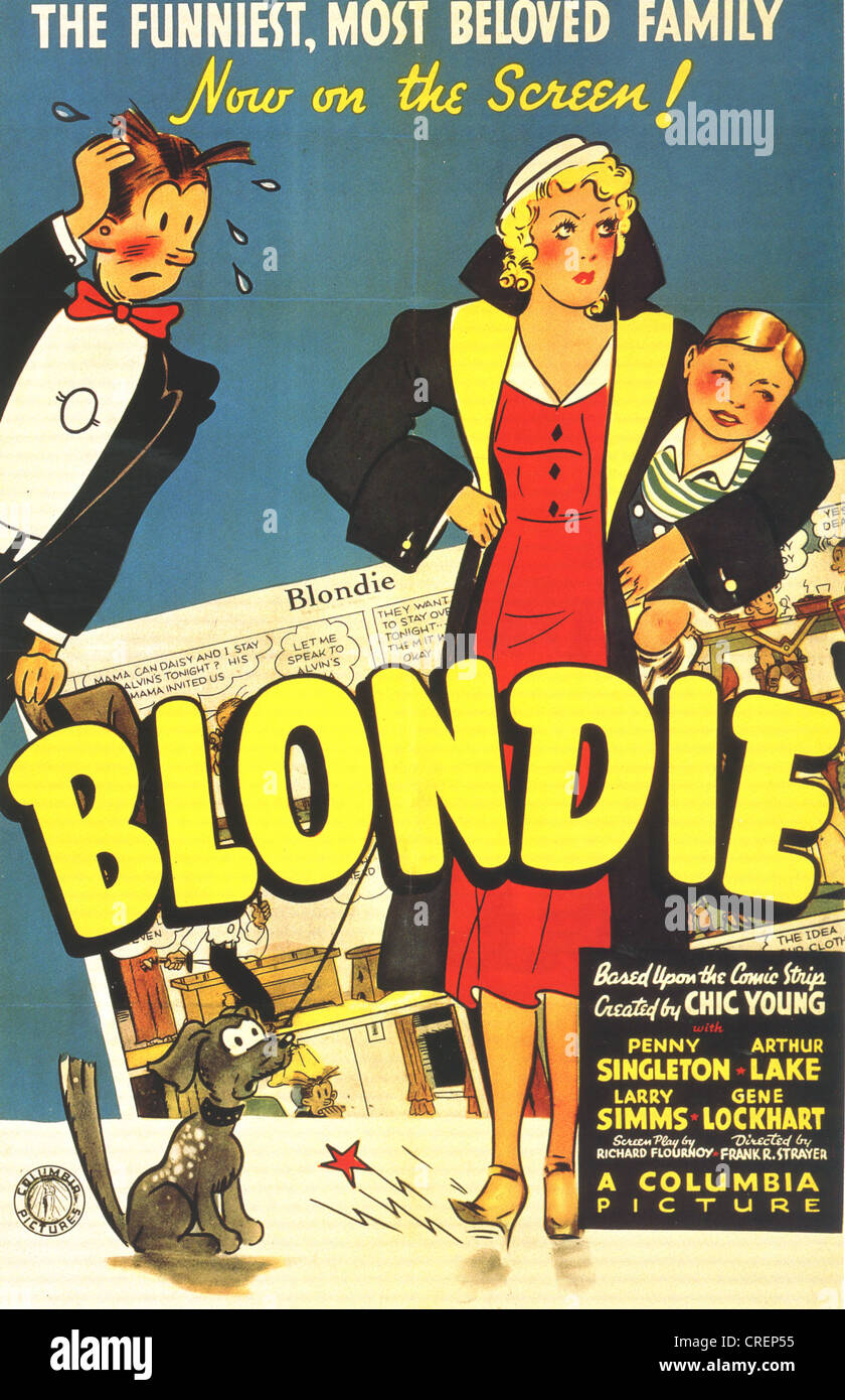 BLONDIE-Plakat für 1939 Columbia Film basiert auf dem Comic von Chic Young Stockbild
