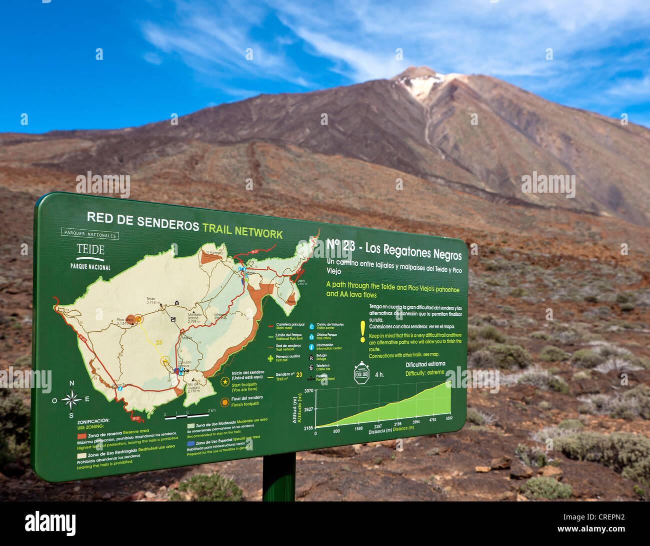 Teneriffa Karte Europa.Karte Mit Wanderwegen Nationalpark Teide Teneriffa