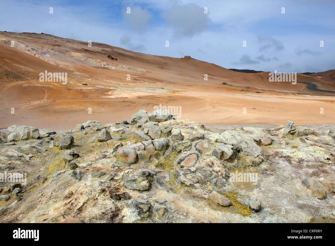 geothermische Feld Namaskard, Island, Namafjall Stockbild