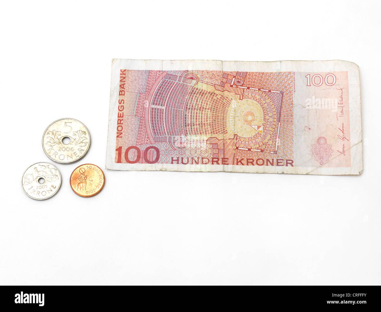 Norwegische Kronen Banknoten Und Münzen Erz 1 Krone 5 Krone Und