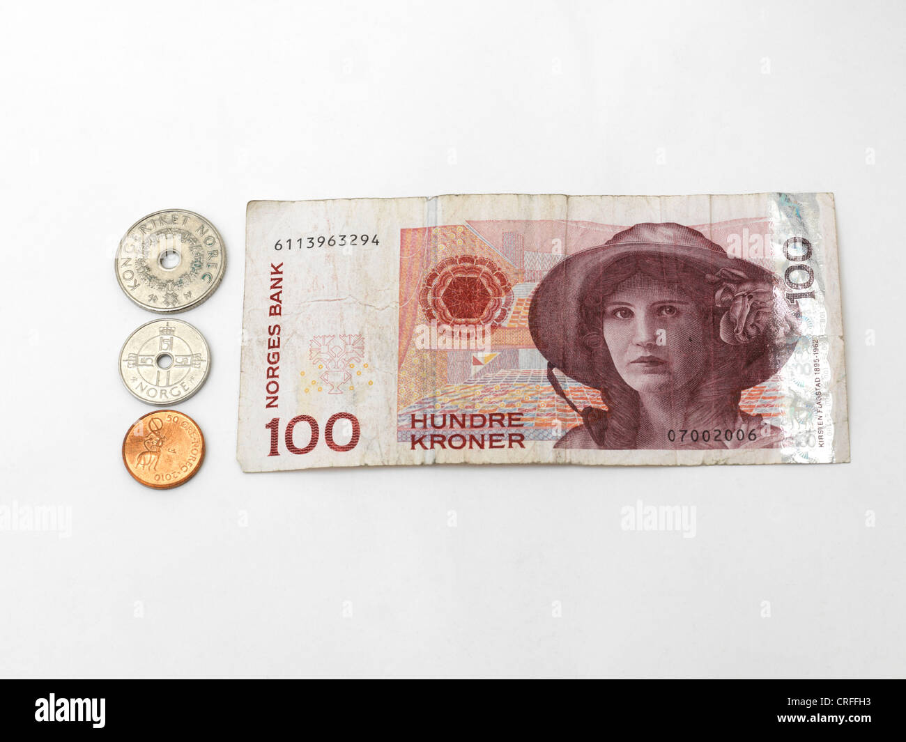 Norwegische Kronen Banknoten Und Münzen 1 Krone 5 Kronen 50 öre