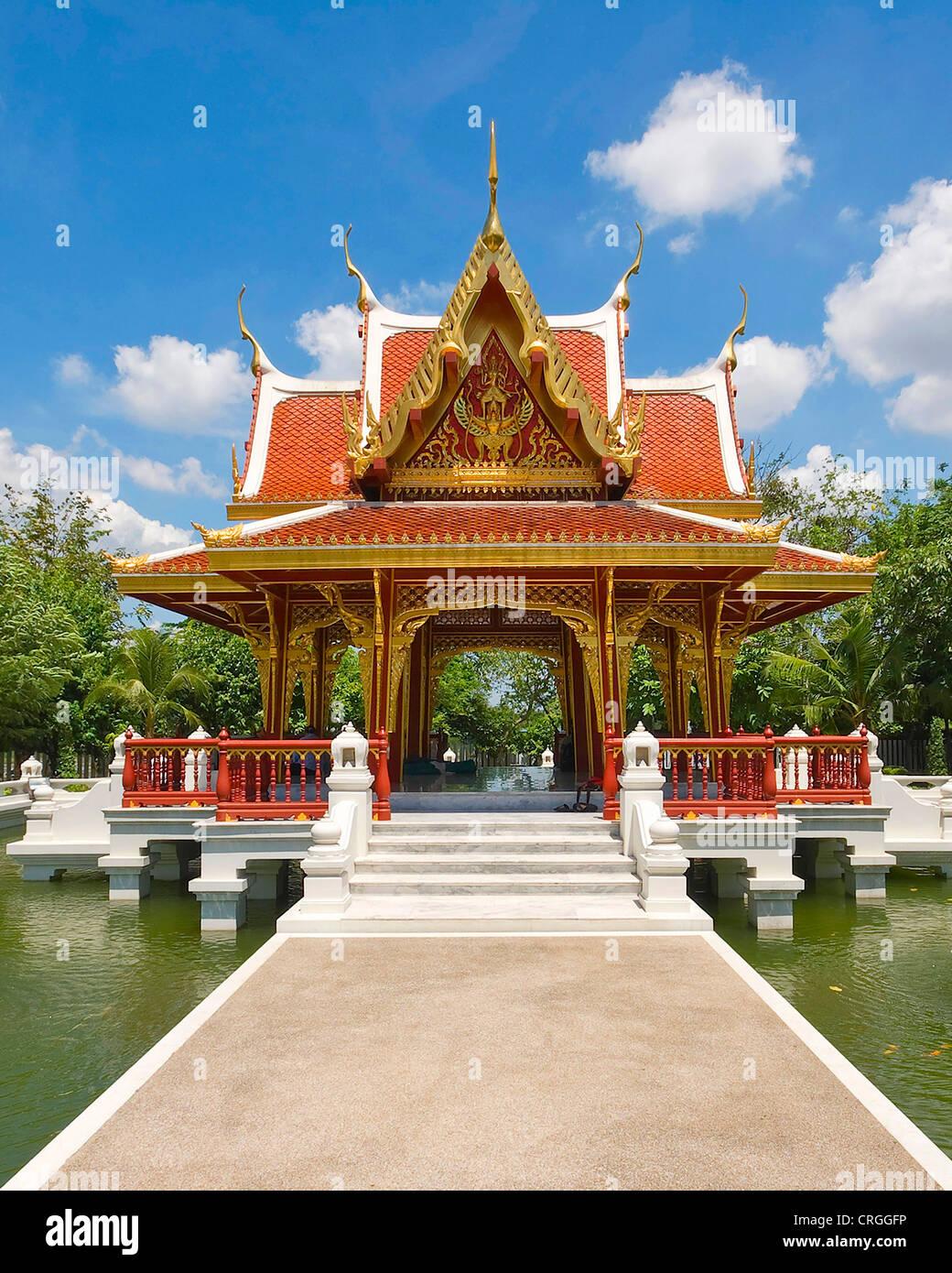 Thailand Kultur Zentrum, Pavillon in einem Teich, Thailand, Bangkok Stockbild