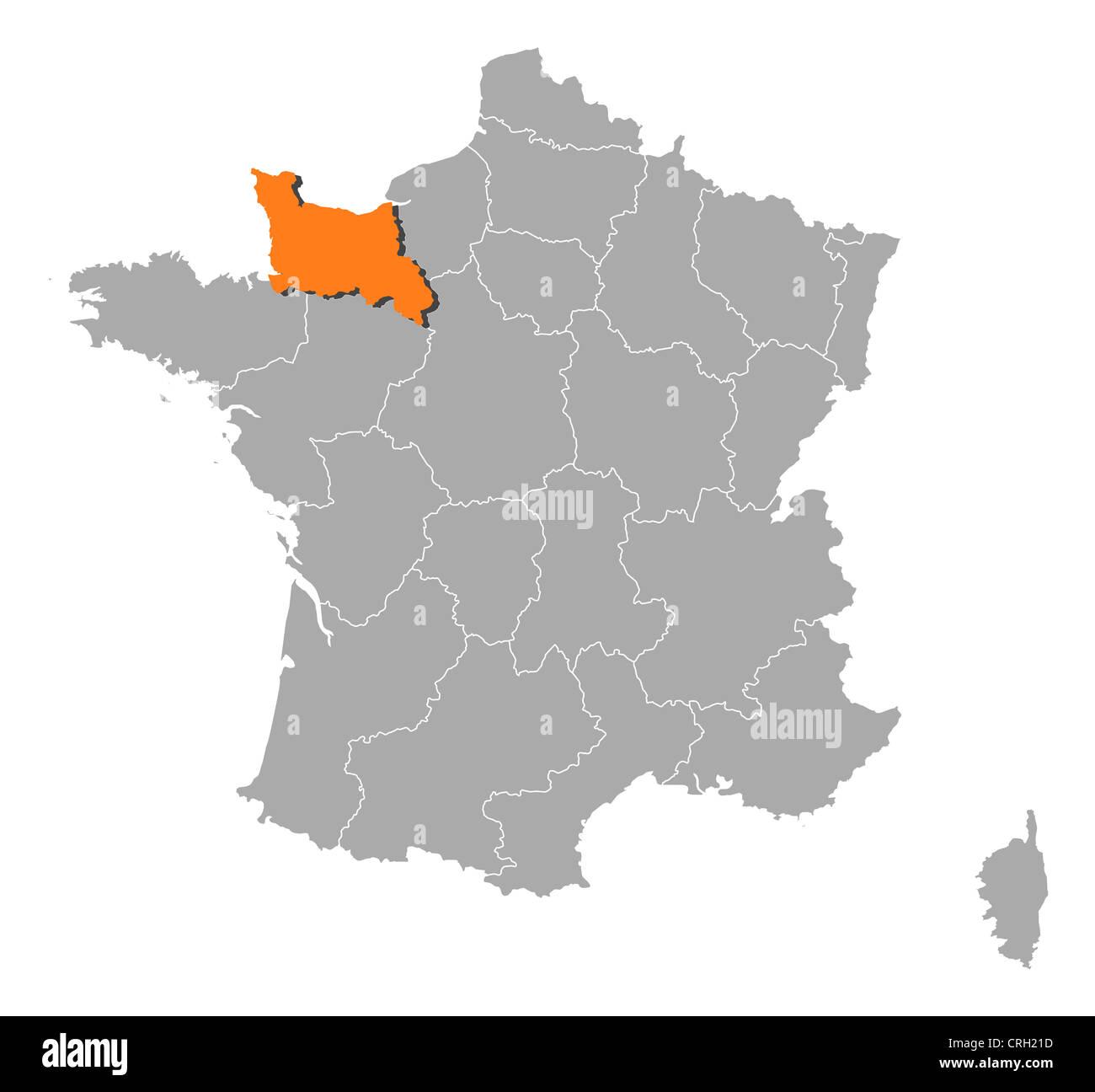 normandie karte Politische Karte von Frankreich mit mehreren Regionen Basse