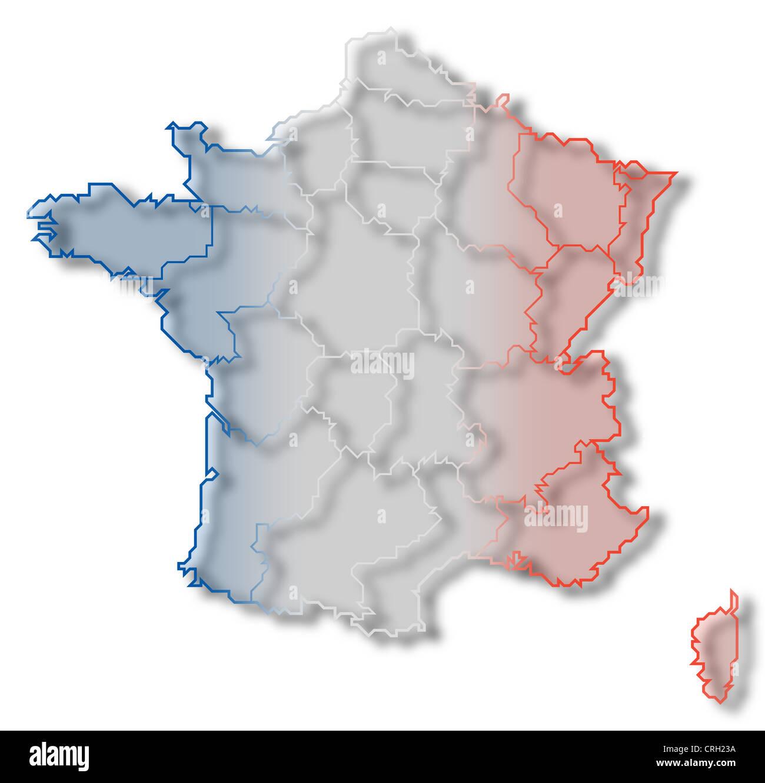 Frankreich Karte Regionen.Politische Karte Von Frankreich Mit Mehreren Regionen Stockfoto